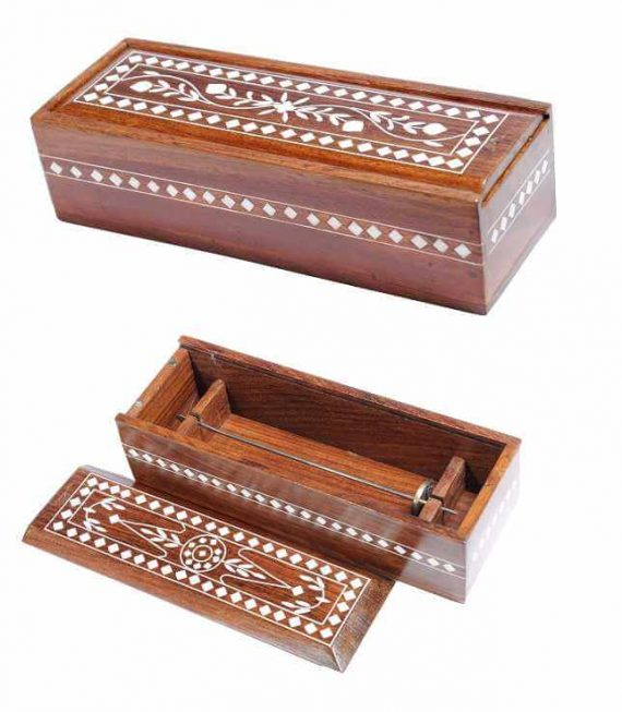 Wooden box with inlay